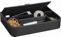 Luxe leatherlook pennenbak zwart 5-vaks